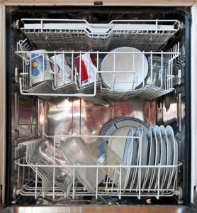 A dishwasher ready to be turned on.